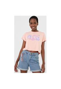 Camiseta Cropped Aeropostale Logo Floral Rosa