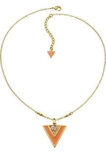 Colar Triangulo- Dourado & Laranja- 44Cm- Guessguess