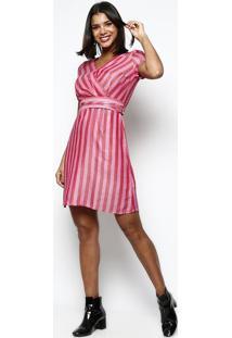Vestido Listrado Com Transpasse- Rosa & Vermelho- Vivip Reserva