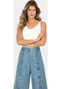 Calça Jeans Pantacourt Tachas Jeans - Lez A Lez