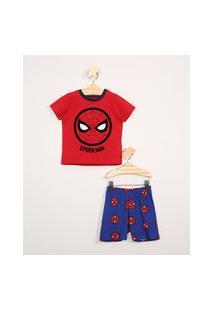 Pijama Infantil Manga Curta Homem Aranha Vermelho