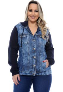 Jaqueta Plus Size Cambos Jeans & Moleton Azul-56