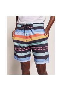 Bermuda Surf Masculina Pipe Tal Pai Tal Filho Listrado Étnico Com Bolsos E Cordão Multicor