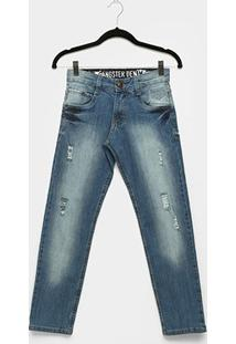 Calça Jeans Infantil Gangster Estonada Puídos Masculina - Masculino