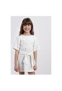 Vestido Infantil Água De Coco Com Bordado De Coqueiros E Linho Manga Curta Off White