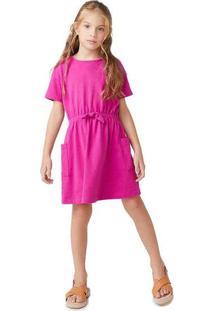 Vestido Infantil Menina Manga Curta Rosa