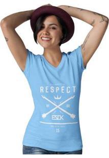 Camiseta Gola V Ezok Caution Sk8R Feminina - Feminino-Azul Claro