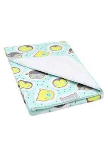 Cobertor Pequeno Bebê Verde Animaizinhos - Bercinho - Tamanho Único - Verde