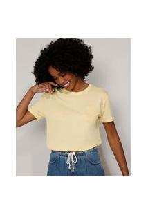 "Camiseta Feminina ""Bloom"" Com Relevo Manga Curta Decote Redondo Amarela Claro"