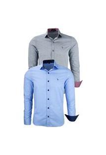 Kit 2 Camisas Social Amil Tecido Pontilhado 1642 Azul Bebê/Preto