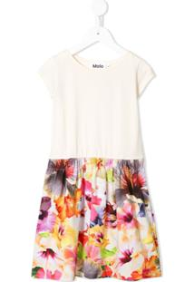 Molo Vestido Midi Com Estampa Floral - Neutro