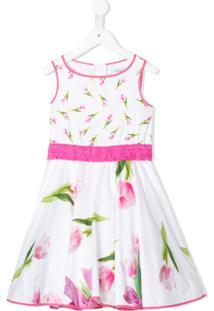Monnalisa Vestido Com Estampa Floral E Babados - Branco