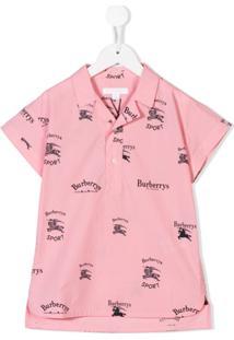 Burberry Kids Camisa Polo Estampada - Rosa