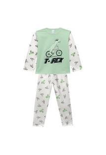 Pijama Infantil Abrange T-Rex Na Bicicleta Verde E Cinza Abrange Casual Verde