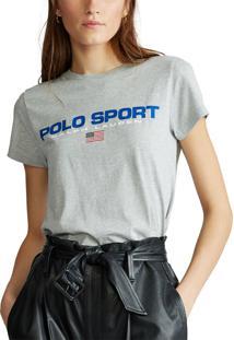 Camiseta Polo Ralph Lauren Lettering Cinza