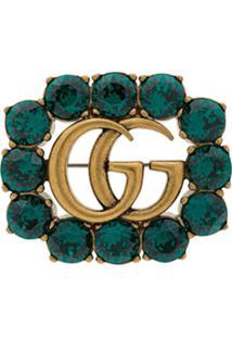 Gucci Broche Duplo G Com Cristais - Verde