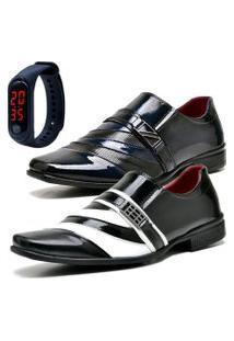 2 Pares Sapato Social Fashion Com Relógio Led Fine Dubuy 631-632El Azul