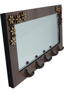 Porta Chaves Crie Casa Gancho Flores Marrom Com Espelho