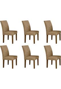 Conjunto Com 6 Cadeiras Olímpia Ipê E Bege