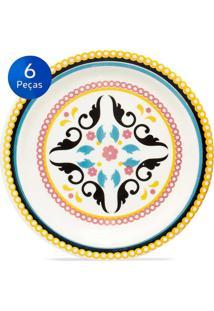 Conjunto De Pratos Para Sobremesa 6 Peças Floreal Luiza - Oxford Multicolorido