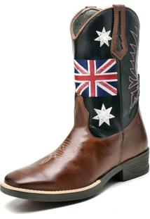Bota Texana Fak Boots Cano Longo Bordado Uk Whisky - Kanui