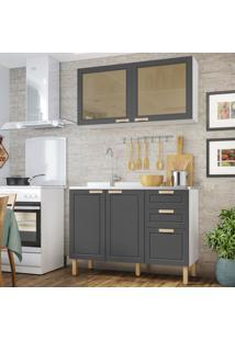 Cozinha Completa 2 Peças Americana Multimóveis 5925 Branco/Grafite