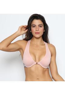 Soutien Nadador Com Fios Metalizados- Rosa Claro & Azul Zee Rucci