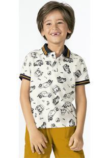 Camisa Polo Infantil Menino Retilínea E Estampada Em Algodão Piquet Puc        ee67dbab15933
