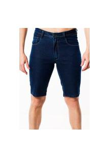 Bermuda Jeans Masculina Malhas G'Dom Slim Azul Escuro