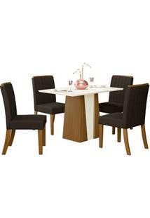 Sala De Jantar Mesa Órus 120Cm Com 4 Cadeiras Tauá Nature/Off White/Ma