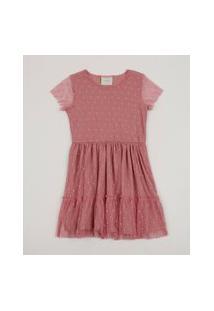 Vestido Em Tule Infantil Estampado Poá Manga Curta Rosa