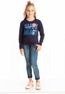 Blusa Infantil Quebra Cabeça Inverno Lantejoulas Feminina - Feminino-Azul