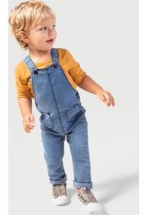 Jardineira Jeans Bebê Menino Com Bolsos Frontais Hering Kids
