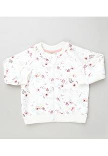 Jaqueta Bomber Infantil Estampada Floral Em Moletom Branca