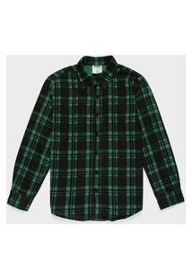 Camisa Juvenil Flanelada Xadrez Verde