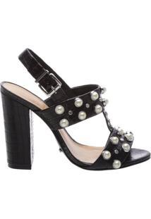 Sandália High Heel Pearls Black | Schutz