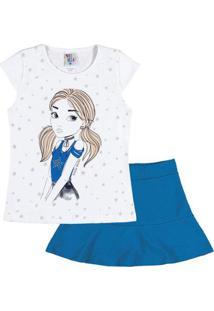 Conjunto Infantil Pulla Bulla Cotton Feminino - Feminino-Branco