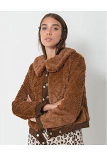 Jaqueta Fur Loja Três - Feminino-Marrom