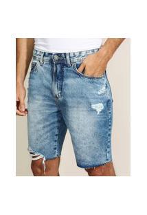 Bermuda Jeans Masculina Slim Com Bolsos Destroyed Azul Médio