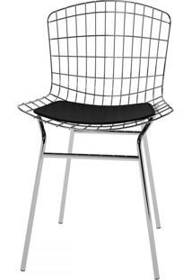 Cadeiras Trama Vinil Preto/Cromado - Pozza