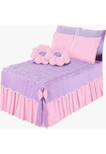 Colcha Mariana Flor Casal Queen 7 Peã§As Rosa - Multicolorido - Dafiti