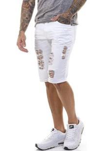 Bermuda Jeans Premium Destroyed Slim Fit Offert Masculina - Masculino-Branco