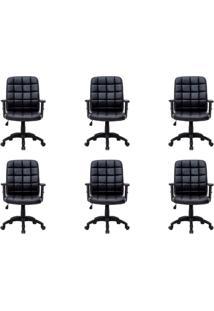 Conjunto Com 6 Cadeiras De Escritório Diretor Giratórias Fitz Com Braços Ajustáveis Preto