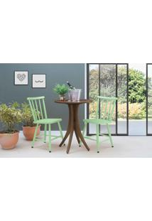 Mesa De Restaurante Redonda Com 2 Cadeiras Juliette - Nogueira E Verde Sálvia