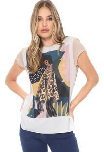 Camiseta Carmim Margarida Branca/Rosa