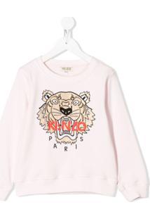 Kenzo Kids Moletom Com Bordado De Tigre - Rosa