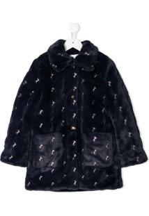 Chloé Embroidered Horse Faux Fur Coat - Azul