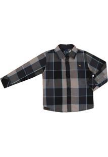 Camisa Masculino Bebê Manga Longa Quadriculado - Masculino-Cinza+Preto