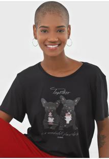 Camiseta Sommer Together Preta - Preto - Feminino - Viscose - Dafiti