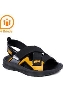 Sandália Batman Infantil Para Menino - Preto/Cinza